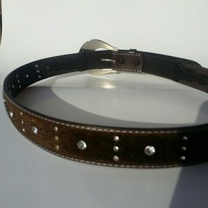 Accessories - Bonded Leather Belt Faux Cow Hair Rhinestones XL